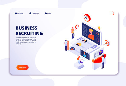 Recruitment agency landing pad. Human resources online recruitment and hiring 3d isometric vector concept. Illustration of recruitment job, candidate recruiting