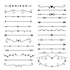 Hand drawn dividers. Line design elements vintage borders. Calligraphic ornate decoration. Retro divider, separator vector set. Filigree calligraphy decorative, decoration vintage illustration
