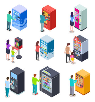 Isometric vending machine and people. Customers buy snacks, soda drinks and tickets in vending machines. 3d vector icons. Illustration of vending machine for selling beverage and food