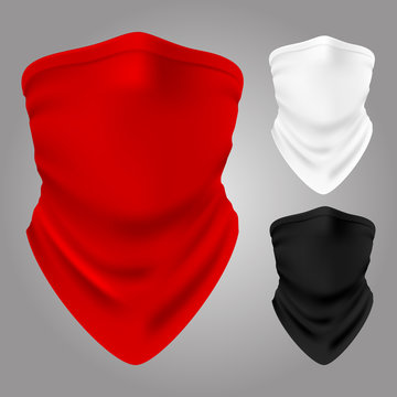 Vector realistic textile balaclavas collection isolated. Illustration of bandana for face, clothing scarf