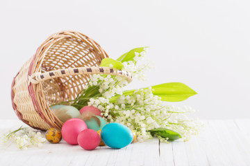 easter eggs with flowers on white background