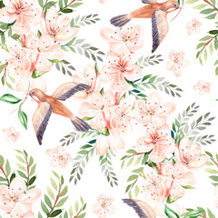 Watercolor pattern with spring flowers, eucalyptus leaves and birds .