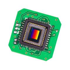 Photosensitive sensor close-up on a green PCB