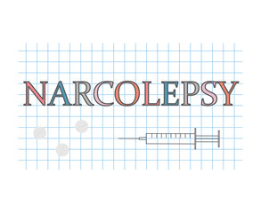 narcolepsy word on checkered paper sheet- vector illustration