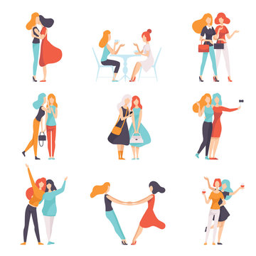 Beautiful Women Friends Spending Good Time Together Set, Happy Meeting, Female Friendship Vector Illustration