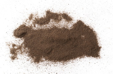 Spoed Foto op Canvas Kruiderij Ground black pepper powder isolated on white background, top view