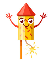 Yellow red firework rocket. Cartoon character design. Fireworks mascot. Rocket with burning wick. Flat vector illustration isolated on white background