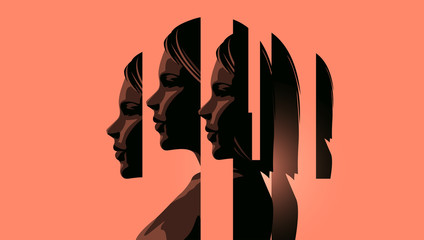 Fototapeta A women dealing with mental heath issues showing the different faces of dealing with personal issues. Anxiety, depression and mindfulness awareness concept. Vector illustration. obraz