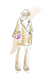 Fashion girl sketch. Fashion illustration. Drawing fashion model