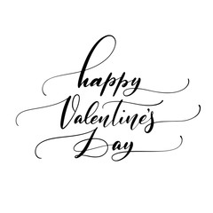 Happy Valentine's Day hand drawn brush lettering, script calligraphy isolated on white background. Perfect for holiday design. Vector illustration.