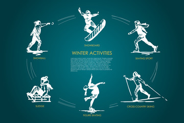 Winter activities - snowball, snowboard, skating sport, cross-country skiing, figure skating, sledge vector concept set