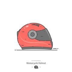 Motorcycle helmet - Line color icon