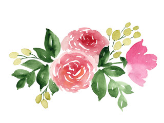 Loose watercolor flowers. Hand painted floral illustration with tea rose