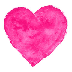 Watercolor pink heart.  Vector illustration