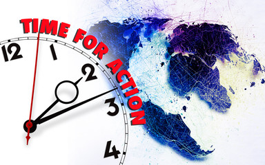 Clock with time for action against Earth map.