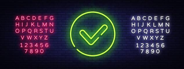 Green check mark Neon Sign Vector. Check list button neon signboard, design template, modern trend design, night neon signboard, night bright advertising, light banner. Vector. Editing text neon sign