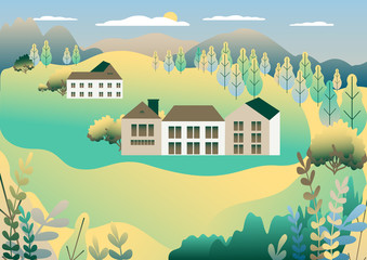 Poster Groene koraal Rural valley view Farm countryside. Village landscape with ranch in flat style design. Landscape with detached house farm one family house, barn, building, tree, background cartoon vector illustration