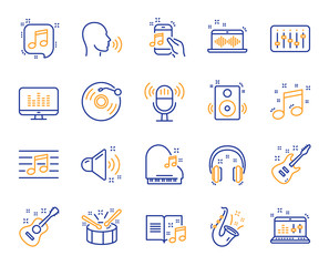 Music line icons. Set of Acoustic guitar, Musical note, Vinyl record icons. Jazz saxophone, Drums with drumsticks, DJ controller. Sound check, Mic, Music making, Electric guitar. Musical note. Vector