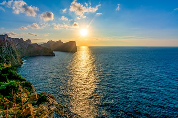 Sunset at sea from Formentor cape, Mallorca, Spain