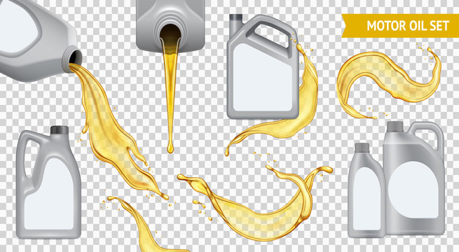 Realistic Motor Oil Transparent Icon Set