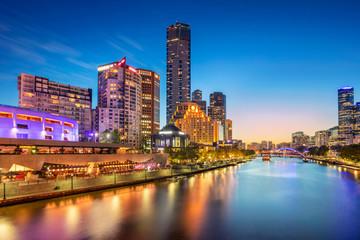 Melbourne. Cityscape image of Melbourne, Australia during twilight blue hour.