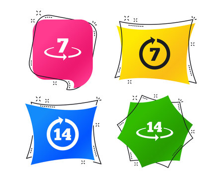 Return of goods within 7 or 14 days icons. Warranty 2 weeks exchange symbols. Geometric colorful tags. Banners with flat icons. Trendy design. Vector