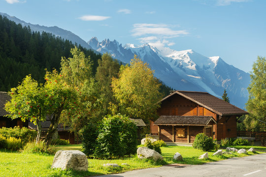 Evening and morning view of the town of Chamonix and Mount Mont Blanc.
