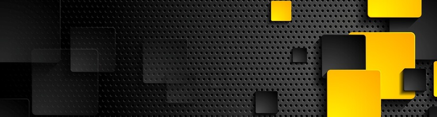 Fotobehang - Orange black squares on dark perforated background