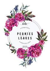 Fuchsia Peonies Vertical Card