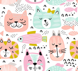 Vector seamless pattern with hand drawn colorful cat faces.