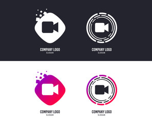 Logotype concept. Video camera sign icon. Video content button. Logo design. Colorful buttons with icons. Vector