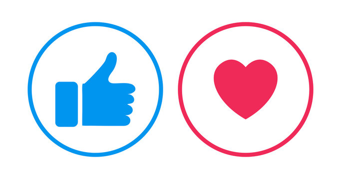 Like and heart icons template for social nets or live video chat app web design