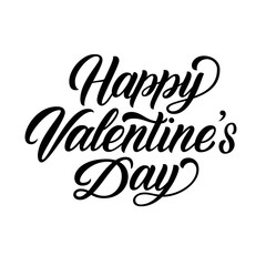 Happy Valentine's Day hand brush lettering, black ink calligraphy, isolated on white background. Perfect for holiday design. Vector illustration.