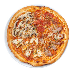 Pizza four seasons on white isolated with clipping path
