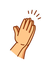 Praying hands drawn in simple line icon illustration with colored skin