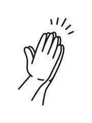 Praying hands drawn in simple line icon illustration in black and white