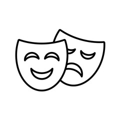 Theater symbol smiley and crying face mask vector drawing