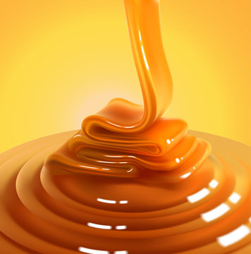 Flowing stream of golden caramel on a yellow background. High detailed realistic illustration.