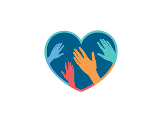 Vector illustration of hands touching heart