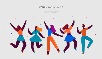 Happy people dance party. Best Friends concept. People character vector illustration flat design