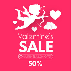 Valentine s Day Sale. Cute Design Template with Hearts, Cloud and Cupid Holding Bow and Arrow.