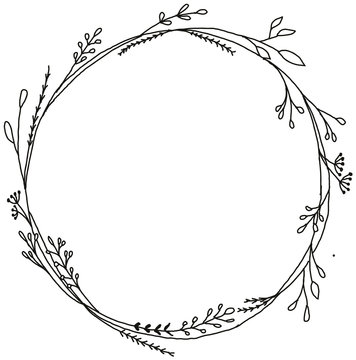 Hand Drawn black and white botanical bouquet wreath. Monochrome creative flower frame for greeting card, modern hand lettering.