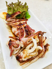 Grilled squid with soy sauce