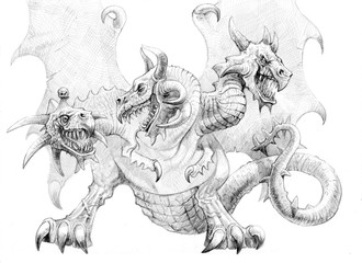 Three-headed dragon. Pencil drawing. Fantasy art.