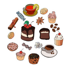 Set made of different desserts, sweets and food. Cake,muffin, cookie, pie, pastry,Candies,coffee,tea,sugar,cinnamon,anis spices.
