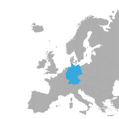 The map of Germany is highlighted in blue on the map of Europe