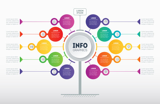 Business presentation concept with 10 options. Web Template of tree, info chart or diagram with icons. Vector infographic of technology or education process with 10 steps.