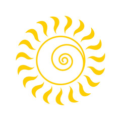 Yellow Sun icon. Vector and illustration symbol isolated on white background.