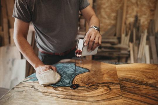 Artisan Carpenter Working in his Workshop
