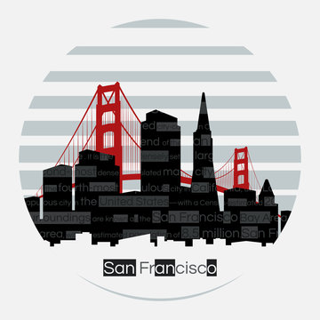 San Francisco silhouette vector round label